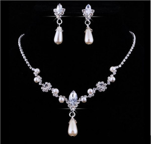 Wholesale Crystal Hot Sale Drop Pearls silver plated necklace Imitation earrings Wedding jewelry sets for bride Bridesmaids women Bridal Accessories