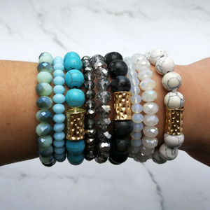 stapelstein großhandel-Naturstein Mala Beads Amazon Stein Stacked Stretch Essential Oil Diffuser Naturstein Armband Layered Geometric Druzy elastisches Armband