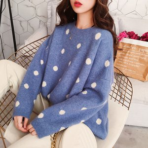 Wholesale Spring Womens Clothing Korean Pullover Harajuku Loose Students Sweet Cute Dot Sweater