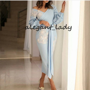 Wholesale Sky Blue Long Sleeve Prom Dresses with Ribbon Belt v-neck ankle-length Lace Appliques Evening gowns Dubai Arabic Evening dress 2019