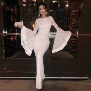 Wholesale New White Ivory Fashion Puffy Long Sleeve Trumpet Lace Mermaid Evening Dress Modest Floor Length Lady Formal Party Guest Gown Robe de Soiree