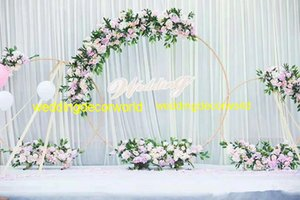 Wholesale New style wedding indoor and outdoor decorative hollow mental gold flower stand pillars best01166