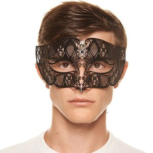 Wholesale iron men mask for sale - Group buy Men and women face mask half face masquerade mask metal party diamonds show iron Venice COS Christmas Road