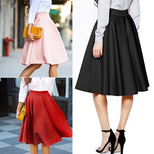 Wholesale Vintage Women Stretch High Waist Skater Flared Pleated Swing Long Skirt Dress