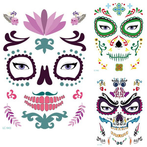 Wholesale Hot style Halloween Temporary Face Art Waterproof Mask Sugar Skull Tattoo Beauty Sticker new