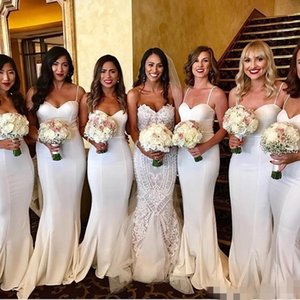 Wholesale Simple Elegant White Mermaid Bridesmaid Dresses Spaghetti Straps Lycra Custom Made Plus Size Maid of Honor Gown Formal Evening Wear