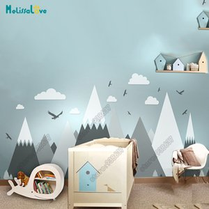 Wholesale Big Baby Room Decal Adventure Theme Decor Huge Mountain Cloud Bird Nursery Kid Room Removable Vinyl Wall Sticker JW373