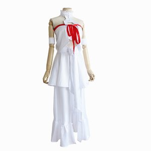 Wholesale SAO Sword Art Online Fairy Dance Cosplay Asuna Yuuki Perucas Costume White Tops Skirt Halloween Party Suit