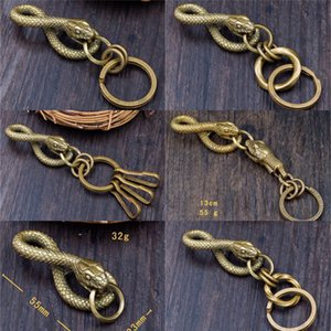 New Handmade Brass Solid Snake Pendant Keychain KeyRing EDC Accessories Original Cosplay Keychain Pendant Christmas Gift