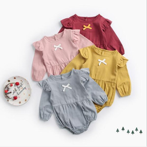 Wholesale 2019 Ins Baby Girls Cotton Romper with Bow Cute Kids Climbing Clothes Infant Toddler jumpsuits baby onesies Rompers boutique clothing