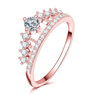 Wholesale gold filled 18k stamped for sale - Group buy New arrival hot sale full Clear A zircon stone Princess Queen kRGP stamp rose gold filled Crown Ring wedding women girls anillo