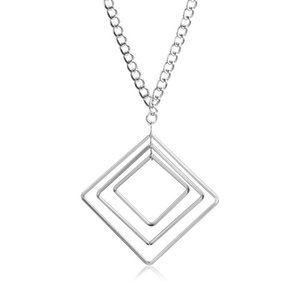 Wholesale Long Necklaces Collier Femme Geometric Statement Colar Maxi Crystal Jewelry Bijoux Square multilayer geometric Necklace