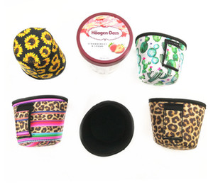 Pint Size Ice Cream Handler Coolie Cooler Neoprene Insulator Ice Cream Holder Handle with Pocket Kozie Colorful YYSY34