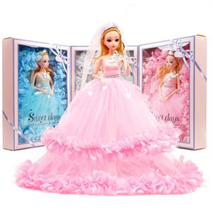 Wholesale 16 quot cm Princess Dolls Wedding dress baby doll children Girl Toy Gift ornament Color Box fashion big billowing skirt hemline