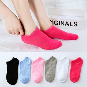 Wholesale Korean Fashion Solid Color Women s Boat Sock Summer Sweat Breathable Socks Low cut Ankle Women Sports Socks Pink Black White