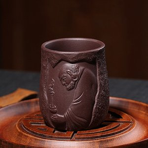 Wholesale hand clay resale online - Purple Clay Dharma Tea Cup Hand Made Purple Sand Hand Carved Kung Fu Tea Set Heat Resistant Drinkware