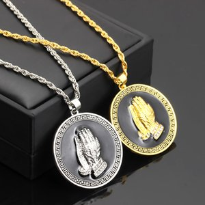 Wholesale Hip Hop Necklace Bible Verse Coin Medal Brand Praying Hands Pendants Necklaces for Men color Silver Gold Chain Christian Hip Hop Jewelry