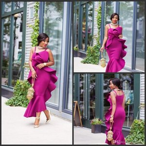 2019 New Fushia Satin Mermaid Evening Gowns Ruffles Plus Size Mermaid Formal Party Dress Custom Made African Spaghetti Prom Dresses on Sale