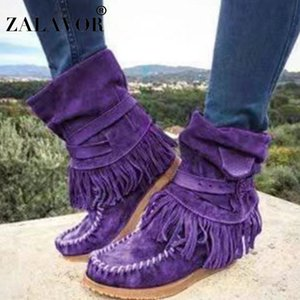 RIZABINA Ankle Boots For Women Fashion Tassel Winter Flats Shoes Women European Style Casual Buckle Short Boots Size 35-42