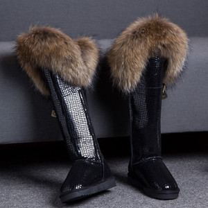 Wholesale Women s Winter Snow Warm Fur Lining Real Fur Trim Suede Leather Knee High Boots Thick Colors Flats Shoes Luxury New A1315