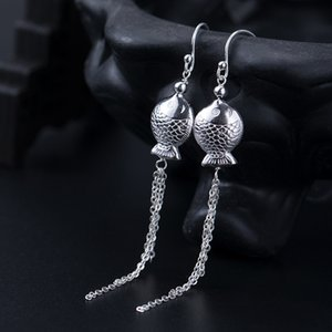 Wholesale dangle earings resale online - 925 Sterling Silver Earrings for Women Fish Design Long Earrings Hanging Tassels earings silver sterling long drop dangling
