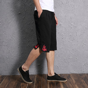 Wholesale MIXCUBIC summer England style unique fire embroidery linen Shorts Men casual loose embroidery linen shorts size M XXXL