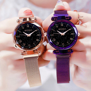 Wholesale Fashion Luminous Starry Sky Flat Glass Quartz Mesh With Magnetic Buckle Ladies Watch women watch Dress watch Party decoration gifts