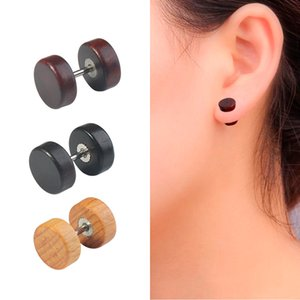 Wholesale Punk Barbell Ear Stud Double Sided Wooden Earrings For Unisex Jewelry Stainless Steel Natural Wood Earring Dumbbell Ear Stud
