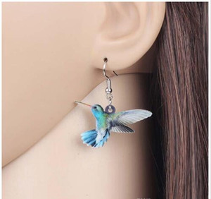 Wholesale Acrylic Flying Voilet Sabrewing Hummingbird Bird Earrings Dangle Drop Fashion Animal Jewelry For Women Girls Kids