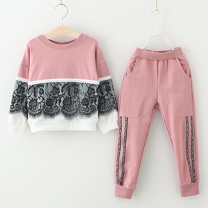 Children Autumn Suits 2019 New Style Girls Sports Clothes Sets 2pcs Lace Design Splice Pink Pants Clothes Sets Kids on Sale