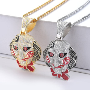 Wholesale Brass CZ Hip Hop Necklace Carton figure Face Pendant Men s Iced Out Jewelry for Party Gift CN068
