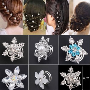 Wholesale Fashion Hair Jewelry Direct Selling Rushed Plant Fashion Bridal Wedding Prom Crystal Flower Hair Pins Swirl Spiral Twist Jewelry