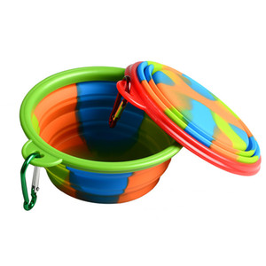 Wholesale Camouflage Pet Bowl Silicone Collapsible Folding Puppy Bowl with Carabiner Portable Pet Dog Bowl for Outdoor Travel Food Feeders C71902