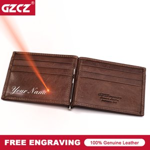 Wholesale Gzcz Men Women Genuine Leather Money Clips Bifold Male Purse Billfold Wallet Bills Cilp Female Clamp For Money Case Free Engrave Y19052202