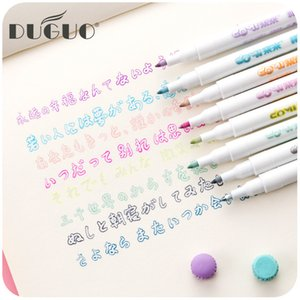 DUGUO Cute Stationery Color Double Line Pen Creative Silver Light Shine Handbook Fluorescent Marker Kawaii School Supplies