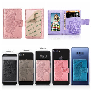 Wholesale notes stick for sale - Group buy Universal Back Phone Card Slot M Sticker Leather Stick On Wallet Cash ID Credit Card Holder For iPhone XS XR Note Flower Butterfly Case