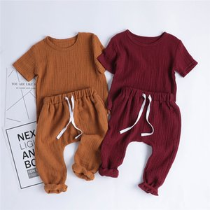 Free DHL Summer Fall Toddler Kids Boy Girls Suits Short Sleeve Blank Tees + Straps Pants 2pieces Suits Cotton Quality Kids Clothing for 0-2T on Sale