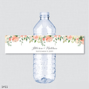 Wholesale 24PCS Custom name Wedding Water Bottle Labels Girl birthday Party Peach Flower Custom Water Bottle Labels