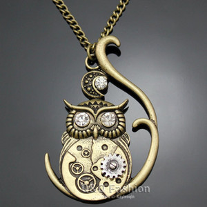 Wholesale Victorian Athena Owl Hedwig Moon Watch Clock Hand Gear Cog Steampunk Necklace Jewelry New necklaces pendants animal Sweater