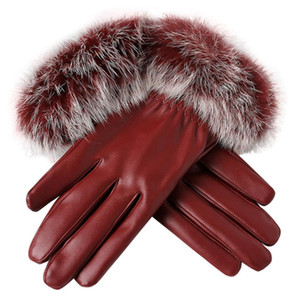 luxury- wholesale Women leather Gloves Autumn Winter Warm Rabbit Fur gloves Mittens gloves heated