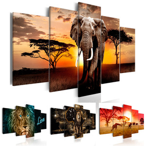 Wholesale elephants home decor resale online - No Frame Panel Animal Painting Pictures Print on The Canvas Art Wall Decor Home Wall Art Picture Color Giraffe Lion Elephant