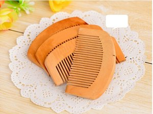 Wooden Comb Natural Health Peach Wood Anti-static Health Care Beard Comb Pocket Combs Hairbrush Massager Hair Styling Tool DHL Free