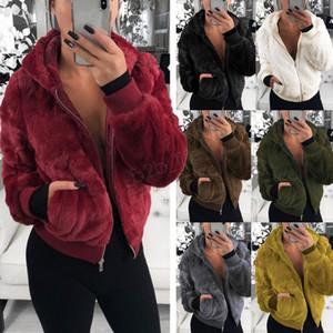 Women Plush Fake Fur Hooded Outerwear 19ss Pocket hoodie Coat Warm Sweater Outdoor Casual solid Outwear warm short Jacket overcoat LJJA3012
