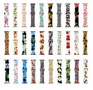 Wholesale Floral Flower Bands For Apple watch Series mm mm Silicone Pattern Printed Strap for iWatch Series mm mm