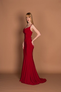 Wholesale Red Mermaid Halter Prom Dresses Long Cheap 2019 Women Cocktail Party Gowns Sexy Formal Evening Gown Sweet 16 Dress
