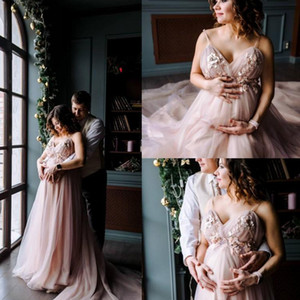 Country Spaghetti Wedding Dresses 3D Floral Appliques Tulle Maternity Pregnant Sweep Train Bridal Gowns Plus Size Beach robe de mariee