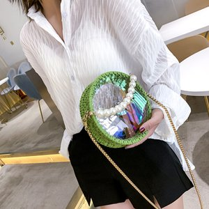 Designer Luxury Womens Shoulder Bags Inclined Shoulder Bag Handmade Weave Pearl Handheld Sweet lady Transparent Circular Multicolor Fashion1