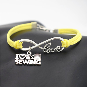 Wholesale Sale Bohemia Infinity Love I Heart Sewing Machine Pendants Charm Bracelets Bangles For Women Men Yellow Leather Suede Rope Cuff Jewelry Gift
