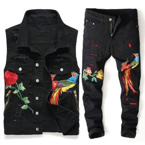 Wholesale European Style Summer Hot Sale Men s Sets Black Vests Pants Two Pieces Sets Embroidery Floral Animal Holes Distressed Twinsets