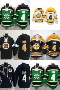 Factory Outlet Mens Boston Bruins 4 Bobby Orr Green Beige Black Yellow Best Quality Ice Hockey Hoodies Sweaters Accept Mix Order
